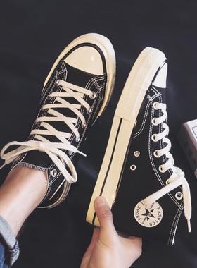 2021夏季新款秋季高帮帆布潮鞋韩版潮流男鞋百搭休闲板鞋中帮布鞋