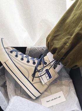 帆布鞋男高帮潮流学生布鞋男生ins板鞋2021春季新款百搭休闲男鞋