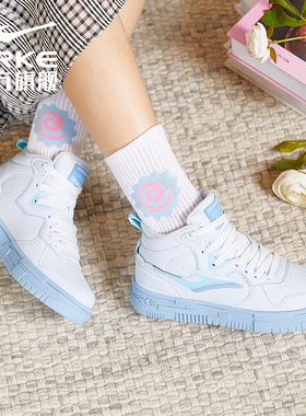 鸿星尔克女鞋男鞋子2021秋冬季新款空军一号红潮流高帮休闲滑板鞋