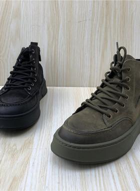 断码处理2020秋冬季新款真皮男鞋时尚侧拉链系带舒适户外高帮鞋