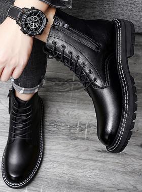 真皮马丁靴男士春秋款侧拉链中帮英伦风男鞋秋冬季黑色高帮工装靴