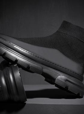 高帮鞋男鞋秋季2021新款潮流百搭欧洲站厚底韩版秋冬袜子男士鞋子
