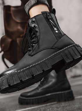 秋冬季高帮切尔西马丁靴男鞋黑色作战训皮靴男士中帮英伦工装潮鞋
