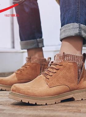 回力马丁靴男士高帮英伦风2021春秋新款男鞋秋冬保暖工装靴子男款