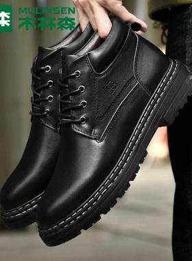 木林森男鞋秋冬季加绒保暖潮流复古百搭英伦风高帮马丁靴工装靴子