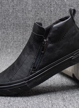 2021秋冬季新款高帮皮鞋男士休闲马丁靴男鞋英伦潮一脚蹬黑色板鞋