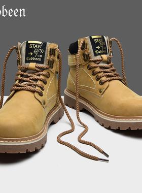 卡宾大黄靴冬季男鞋春秋款男士靴子中帮马丁靴男高帮英伦风工装靴