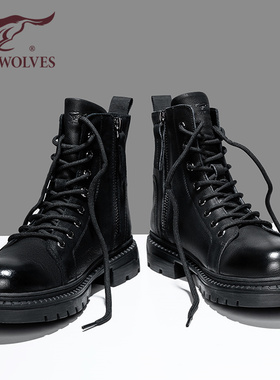 七匹狼黑色马丁靴男士踢不烂皮靴冬季男鞋雪地棉靴高帮工装靴男