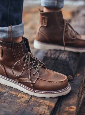 马丁靴男高帮工装靴英伦风中帮男鞋冬季加绒复古真皮短靴百搭皮靴