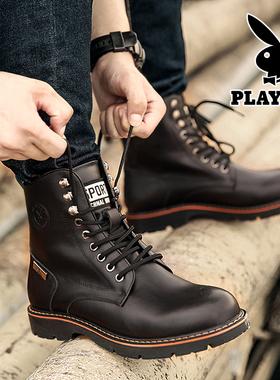 花花公子冬季加绒靴子男士真皮潮流中帮马丁靴新款高帮男鞋工装靴