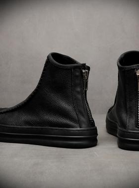 马丁靴男冬季加绒黑色短靴子男士中高帮潮流男鞋英伦风牛皮工装靴