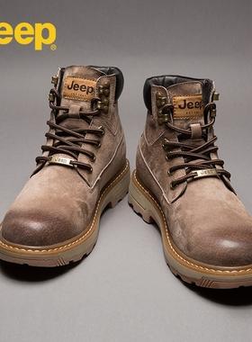jeep马丁靴男秋季英伦风高帮男鞋冬季加绒工装靴中帮真皮复古男靴