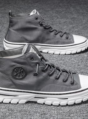 秋冬季新款马丁靴男士中帮工装男鞋潮流百搭休闲高帮加绒保暖棉鞋