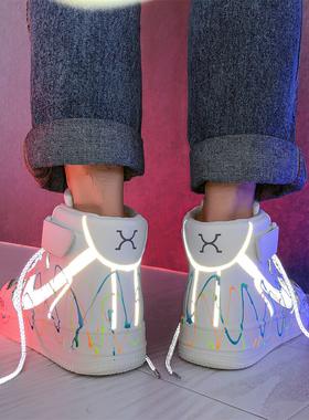 冬季aj潮鞋空军一号男鞋2021年新款保暖加绒棉鞋高帮休闲运动板鞋