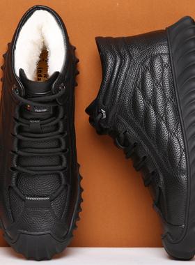 男鞋2021新款冬季大棉鞋男加绒保暖皮毛一体防滑爸爸棉皮鞋高帮鞋