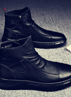 2021冬季男防水鞋防滑加绒保暖棉鞋男鞋冬季高帮休闲皮鞋厨师劳保