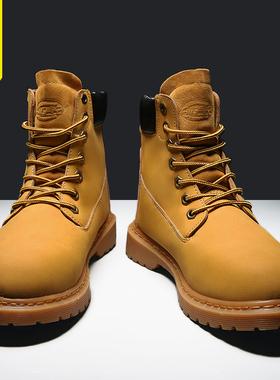 2021新款秋冬季潮流马丁靴男鞋高帮加绒保暖男士大黄靴子工装潮鞋