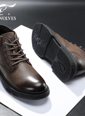 七匹狼冬季英伦风马丁靴保暖加绒棉鞋男士中帮靴子高帮鞋真皮男鞋