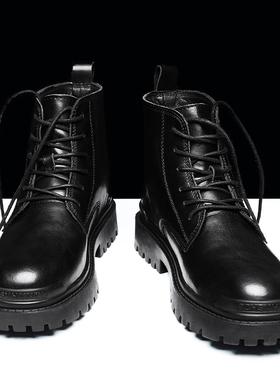 高帮马丁男靴子秋季冬季男鞋加绒黑色英伦风工装短靴网红中帮皮靴