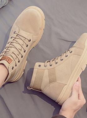 秋季高帮马丁靴英伦风中帮百搭工装潮鞋男鞋冬季加绒保暖雪地棉鞋