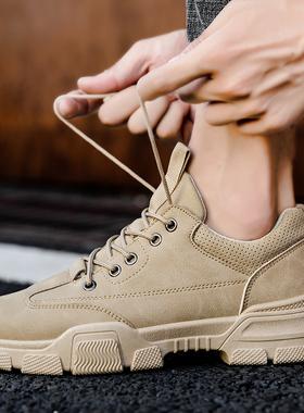 2020新款秋季马丁靴英伦风高帮工装男士沙漠靴冬季中帮加绒男鞋子