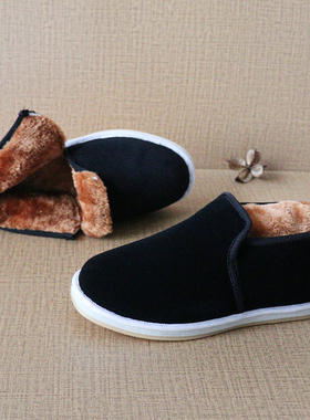 棉鞋男2021新款黑色布鞋男冬季高帮软底防臭保暖男鞋防滑棉鞋加绒