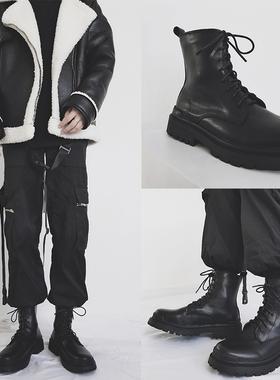 欧美式机车马丁靴英伦风ins骑士工装雪地靴冬季黑色加绒高帮男鞋