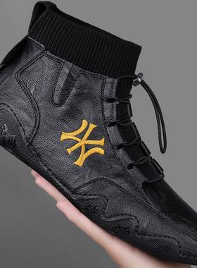 马丁靴男高帮英伦风休闲运动皮鞋真皮中帮棉鞋男鞋冬季加绒雪地靴