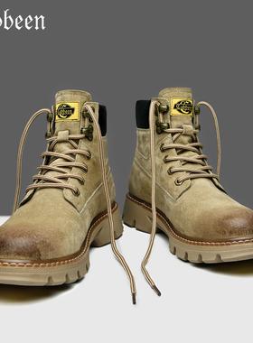 卡宾中帮英伦风户外真皮马丁靴男冬季加绒工装靴高帮男鞋男士靴子