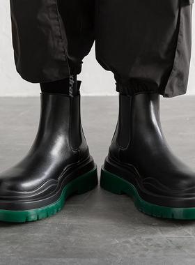 马丁靴男士切尔西靴祖母绿底中帮烟筒bv短靴高帮加绒工装男鞋冬季