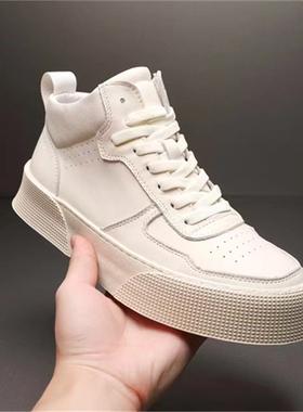欧洲站男鞋2021冬季高帮鞋男真皮加绒休闲鞋潮流韩版百搭厚底板鞋