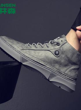 木林森aj男鞋高帮秋季新款工装鞋真皮马丁靴男士冬季加绒休闲棉鞋