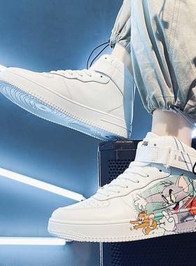 男增高潮鞋2021男鞋运动休闲高帮男板鞋潮流鞋子冬季加绒保暖棉鞋