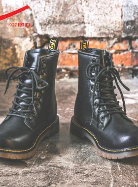 回力马丁靴男士高帮英伦风工装鞋子复古皮靴秋冬季加绒雪地靴男鞋