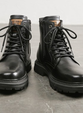 冬季大码马丁靴男45真皮高帮英伦风46男士中帮靴子47加绒男鞋48棉