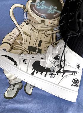 国潮aj男鞋空军一号白色高帮鞋加绒冬季棉鞋增高运动板鞋子男潮鞋
