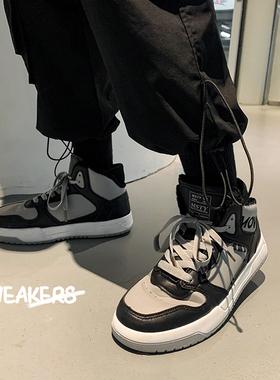 高帮男鞋子ins加绒棉潮鞋秋冬季韩版百搭小众设计国潮运动板鞋男