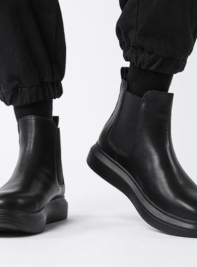 马丁男靴秋冬季高帮男鞋2021新款黑色皮靴潮流加绒英伦切尔西靴棉