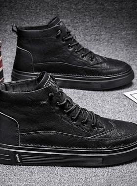 男鞋秋季2021新款黑色高帮棉鞋加绒保暖运动潮流休闲冬季马丁靴子