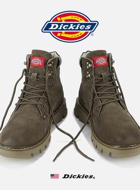 Dickies靴子男鞋冬季加绒复古工装靴磨砂皮短靴高帮马丁靴男款潮
