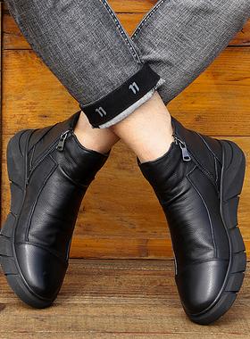 男鞋冬季潮鞋2021新款加绒韩版真皮欧洲站一脚蹬高帮男靴子马丁靴