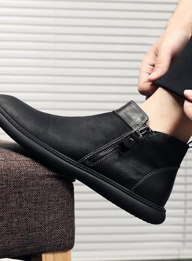 冬季欧洲站男鞋真皮高帮潮鞋韩版百搭加绒马丁靴男休闲鞋板鞋短靴