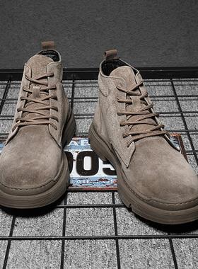 马丁靴英伦中帮男鞋45工装靴沙漠靴46高帮加绒潮鞋47冬季特大码48
