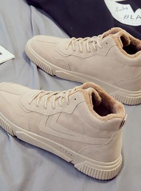 高帮鞋韩版潮流男鞋潮鞋马丁靴中帮冬季运动帆布板鞋加绒保暖棉鞋