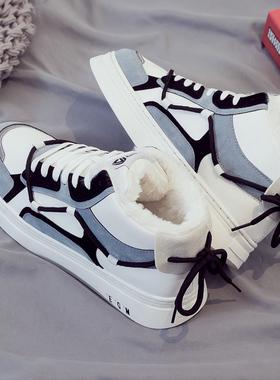 冬季高帮加绒加厚保暖棉鞋运动板鞋韩版潮流男鞋百搭休闲帆布潮鞋