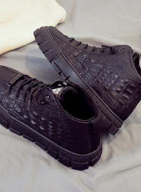 冬季高帮加绒加厚保暖棉鞋运动板鞋韩版潮流男鞋百搭休闲皮鞋潮鞋