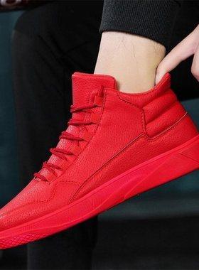 空军一号冬季男鞋韩版潮流高帮板鞋运动棉鞋加绒增高鞋红色潮鞋男