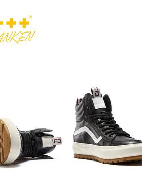 sanken秋冬季男士高帮男鞋厚底潮鞋青春网红鞋加绒真皮运动马丁靴