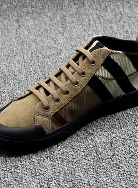 欧洲站2021秋季新款透气高帮男鞋潮鞋男士休闲鞋韩版鞋子真皮板鞋