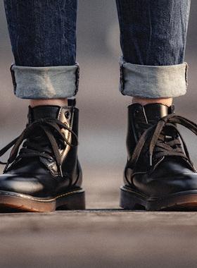 黑色马丁靴男鞋秋季百搭高帮真皮靴子男士潮鞋中帮英伦风工装鞋子